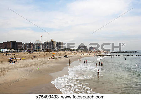 Stock Photo of People on the beach near Coney Island x75499493.