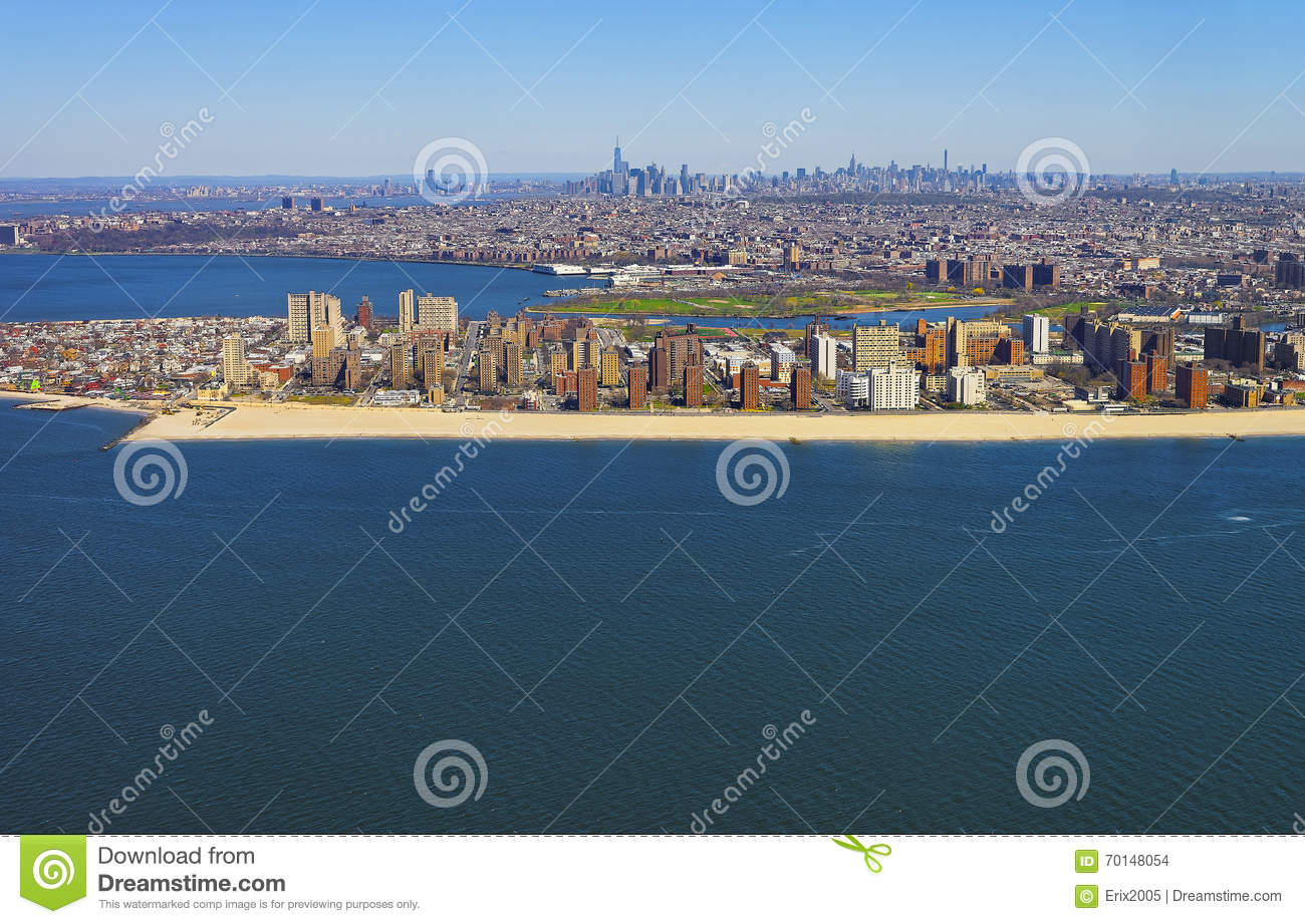 Helicopter View On Coney Island Beach And Boardwalk Stock Photo.