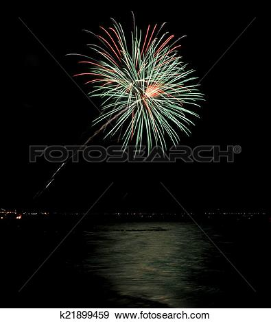 Stock Photograph of Coney Island Beach Fireworks k21899459.