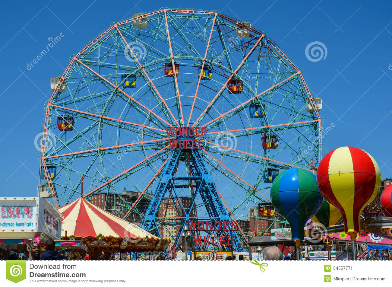 Wonder Wheel Ferris Wheel At Coney Island Editorial Photo.