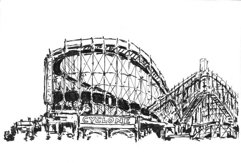 Coney Island Cyclone Original 5x7 centered on by VistaArtworks.