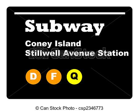 Stock Photos of Coney Island Subway sign, New York city, U.S.A..