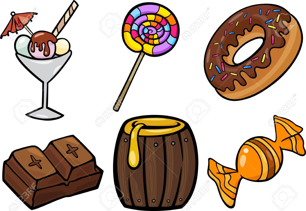 Cartoon Illustration Of Sweet Food Or Confectionery Candies.