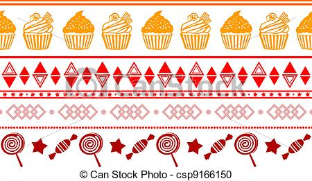 Vector Clipart of seamless confectionery colorful border with.