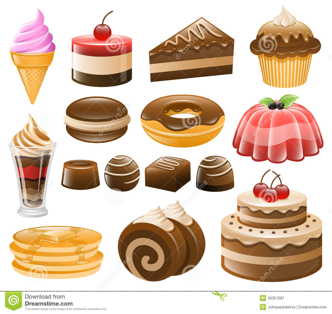 Dessert Icon Set, Sweets, Confectionery Stock Vector.