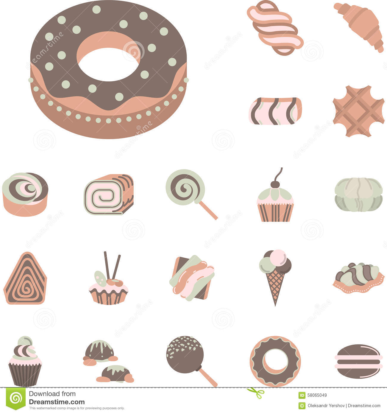 Icons Sweets And Confectionery Products Stock Vector.