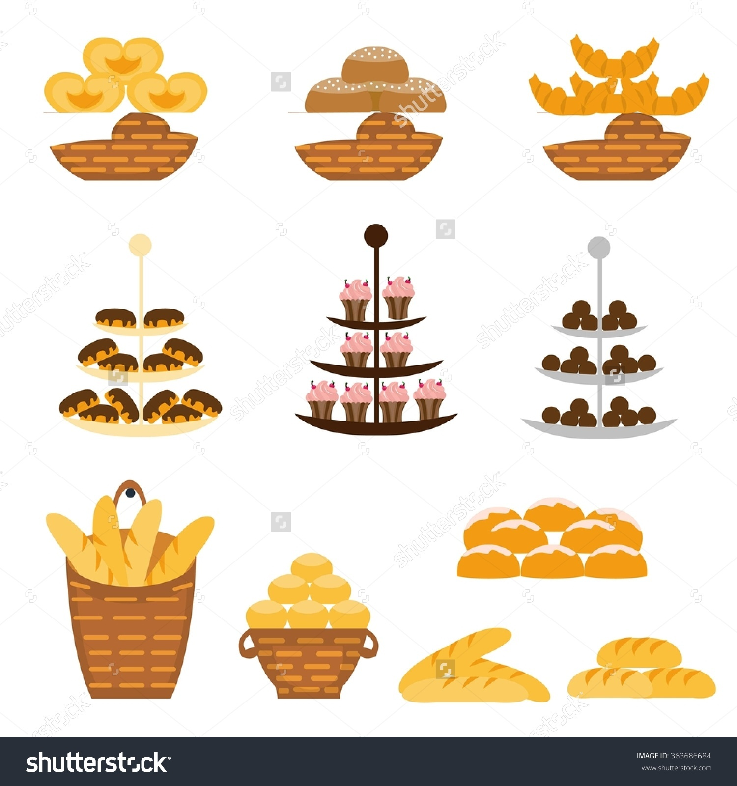 Set Different Types Bakery Products Vector Stock Vector 363686684.