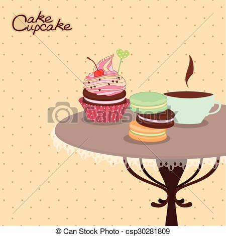 Vector Clipart of Bakery products on a round table with mug of.