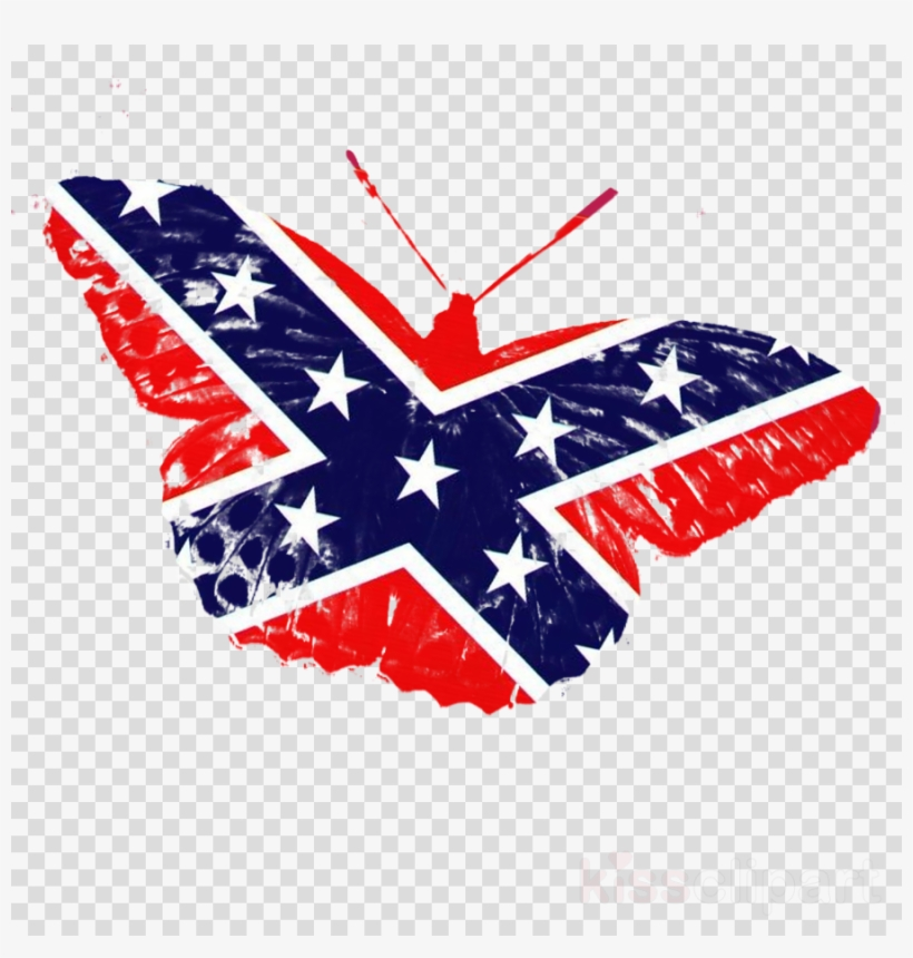 Rebel Flag On Transparent Clipart Southern United States.