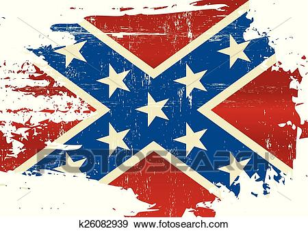 Scratched Confederate Flag Clip Art.