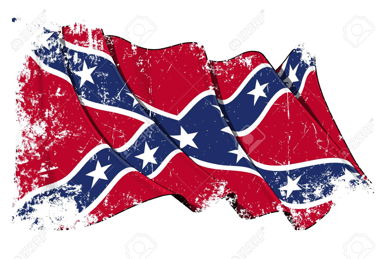 Grunge Vector Illustration of a Waving Confederate Rebel flag...