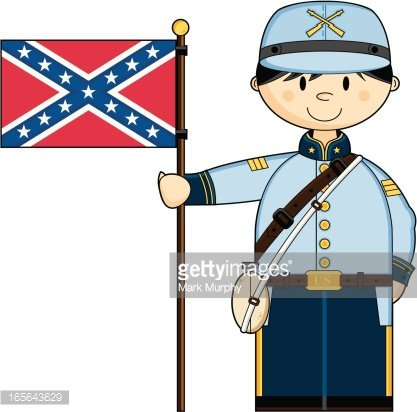 Cute American Confederate soldier with Flag Clipart Image.