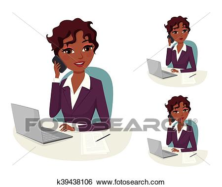 Conference Call: African American businesswoman on a phone meeting Clip Art.