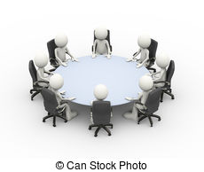 Clip Art of 3d people business meeting conference table.