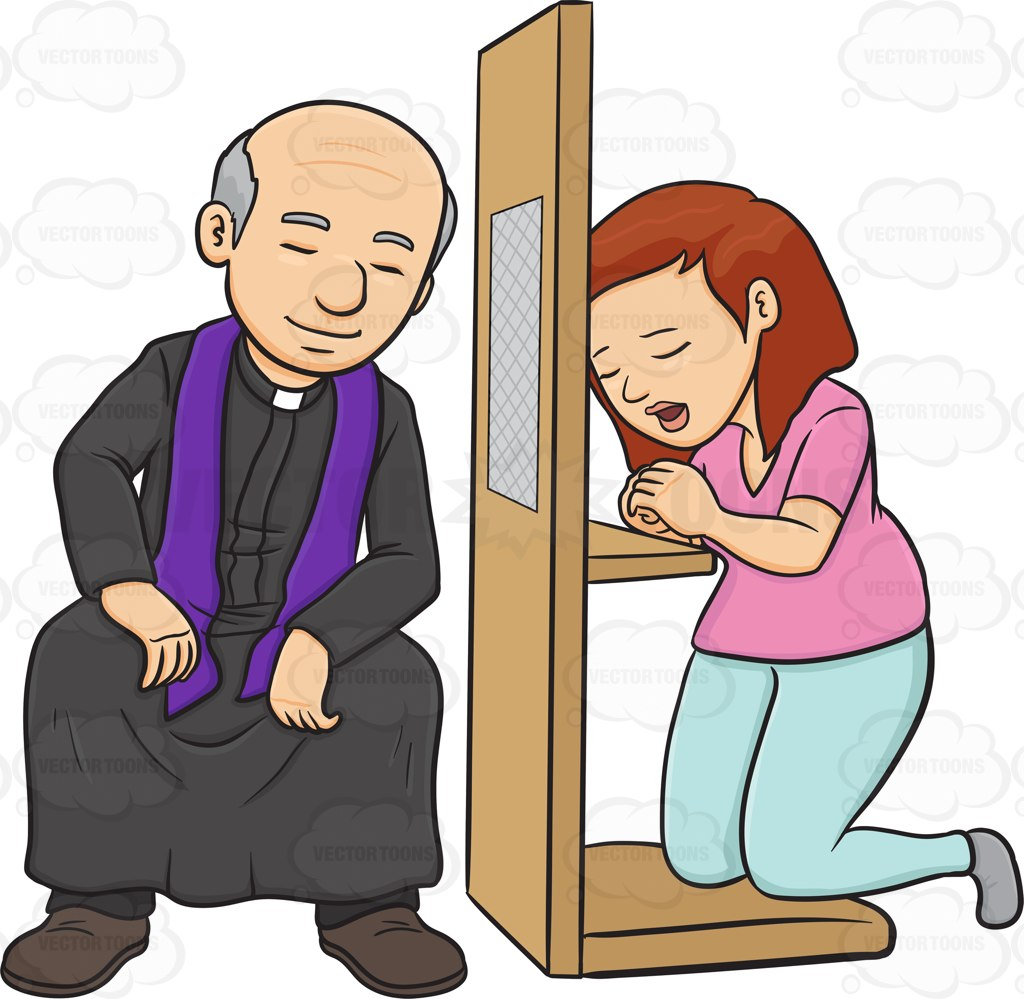 A Woman Confessing To A Priest And Asking Penance Cartoon Clipart.