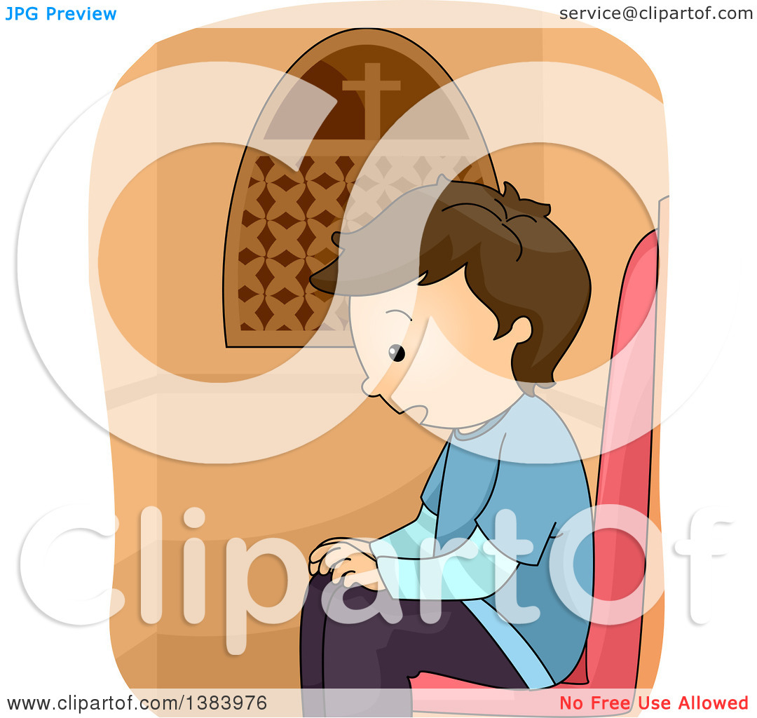 Clipart of a Brunette White Boy in a Confession Booth.