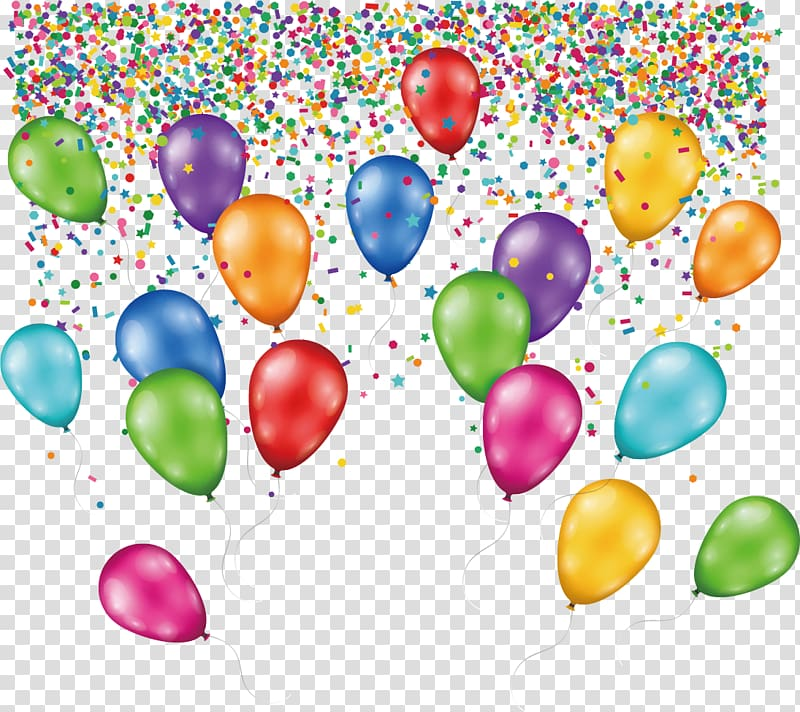 Balloons and confetti , Birthday cake Balloon, Creative.