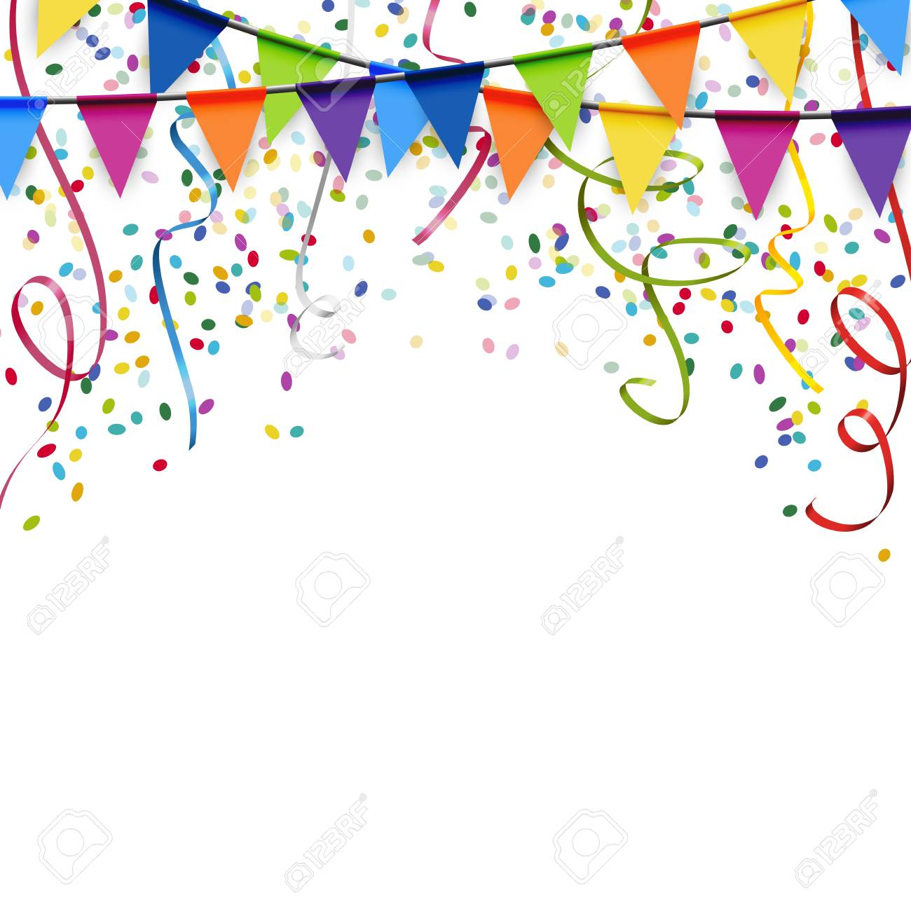colored garlands, streamers and confetti background for party...