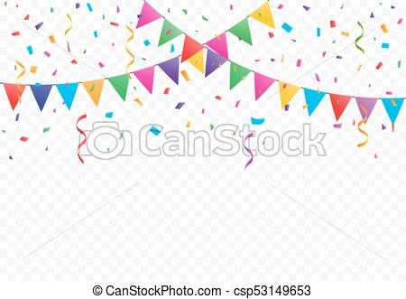 Colorful Flags with Confetti background vector.