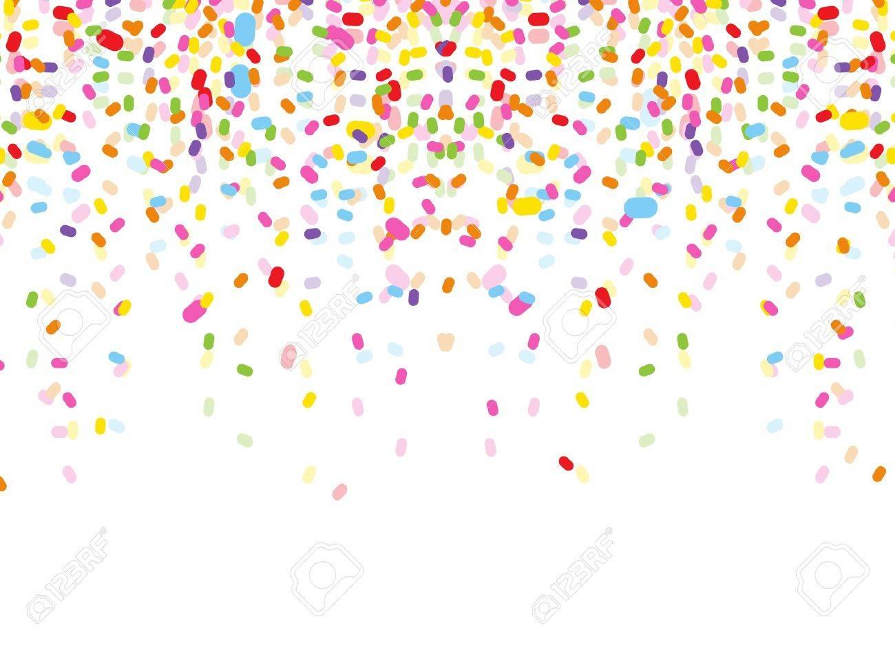 colorful confetti on white background.