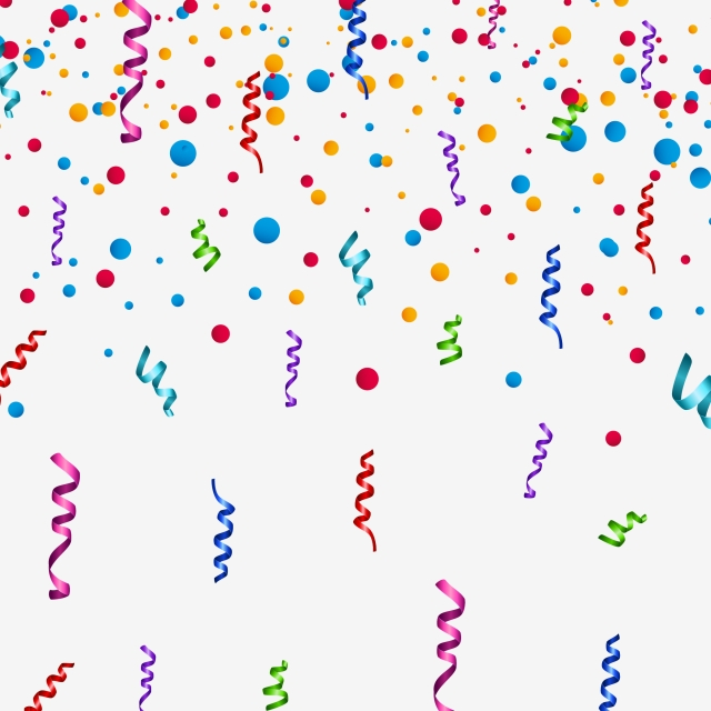 Colorful Birthday Ribbons With Randomly Dots Transparent Background.