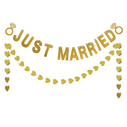 Amazon.com: BESTOYARD Glitter Just Married Letters Banner Heart.