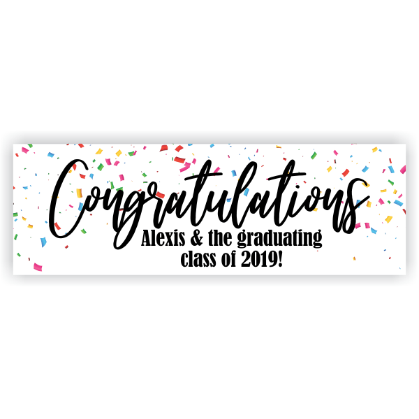 Personalized Confetti Graduation Banner.