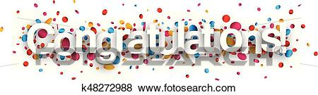 Congratulations paper banner with confetti. Clip Art.