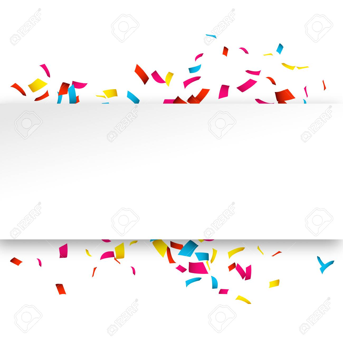 Colorful Confetti banner isolated on white. Confetti explosion...