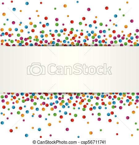 Colorful Confetti banner with place for text isolated on white background.