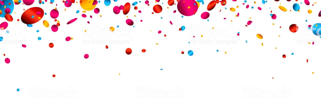 Banner With Colorful Glossy Confetti Stock Illustration.