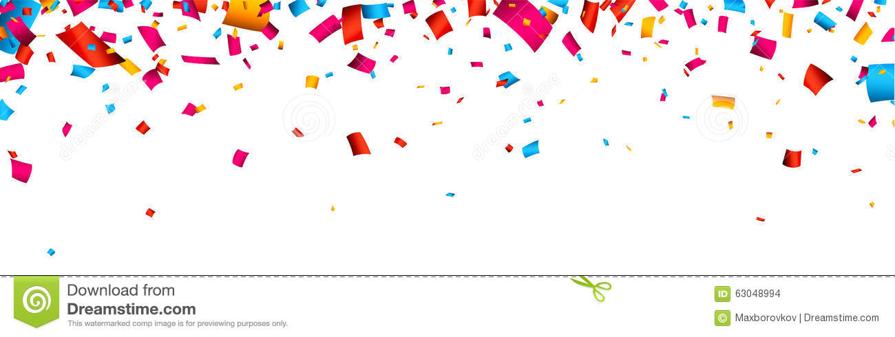 Confetti Celebration Banner Stock Vector.