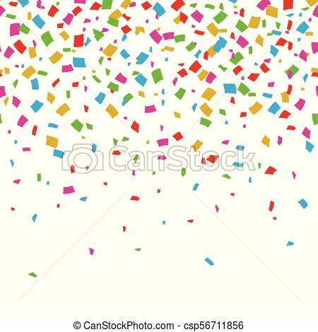 Watercolor rainbow colored confetti border with space for text.