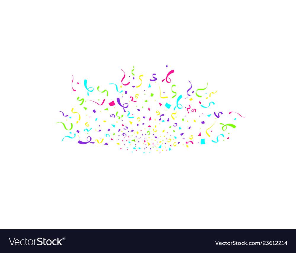 Colorful confetti burst isolated on white.