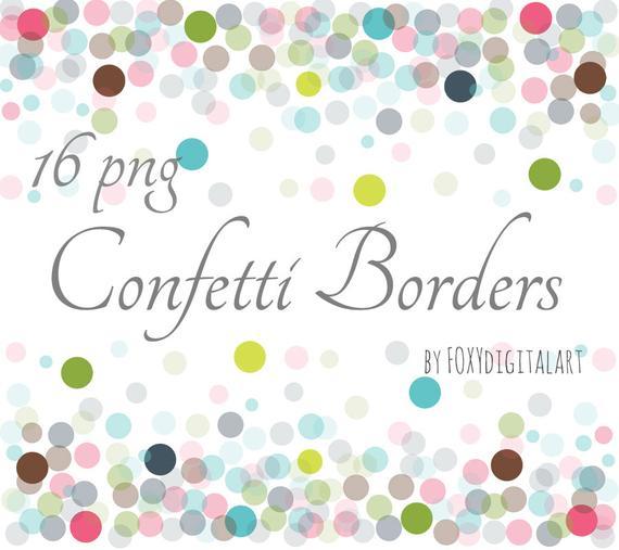 Confetti Clipart, Confetti Borders, Confetti Border Set, Digital Confetti,  Confetti Overlay, Confetti Graphics, Confetti Background, PNG.