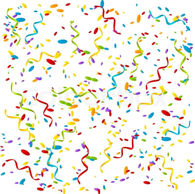 Party background with color confetti.