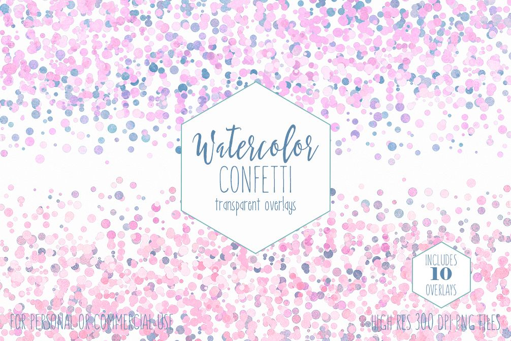WATERCOLOR CONFETTI BORDER Clipart Commercial Use Confetti Transparent  Overlays Blush Pink Blue Party Wedding Invitation Graphics.