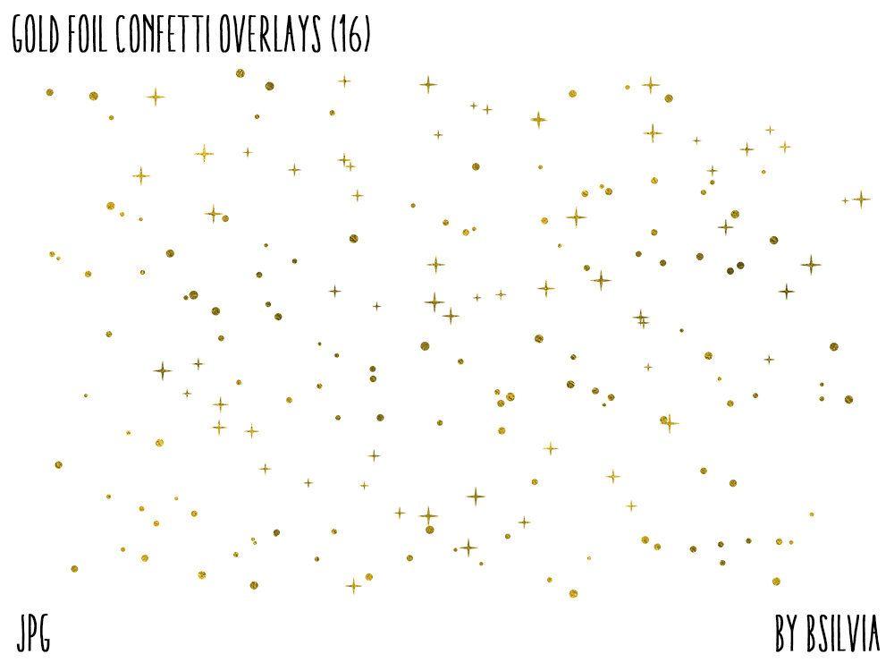 Gold Foil Confetti Clipart Overlays, Gold Confetti Clipart.