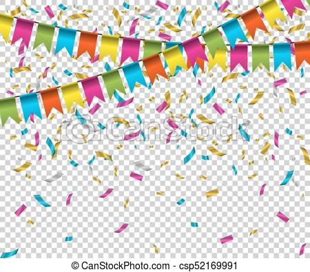 Falling color confetti with flags on transparent background. Vector holiday  illustration..