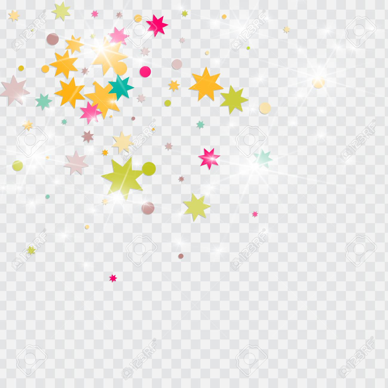 Vector multicolored confetti on transparent background. Falling...