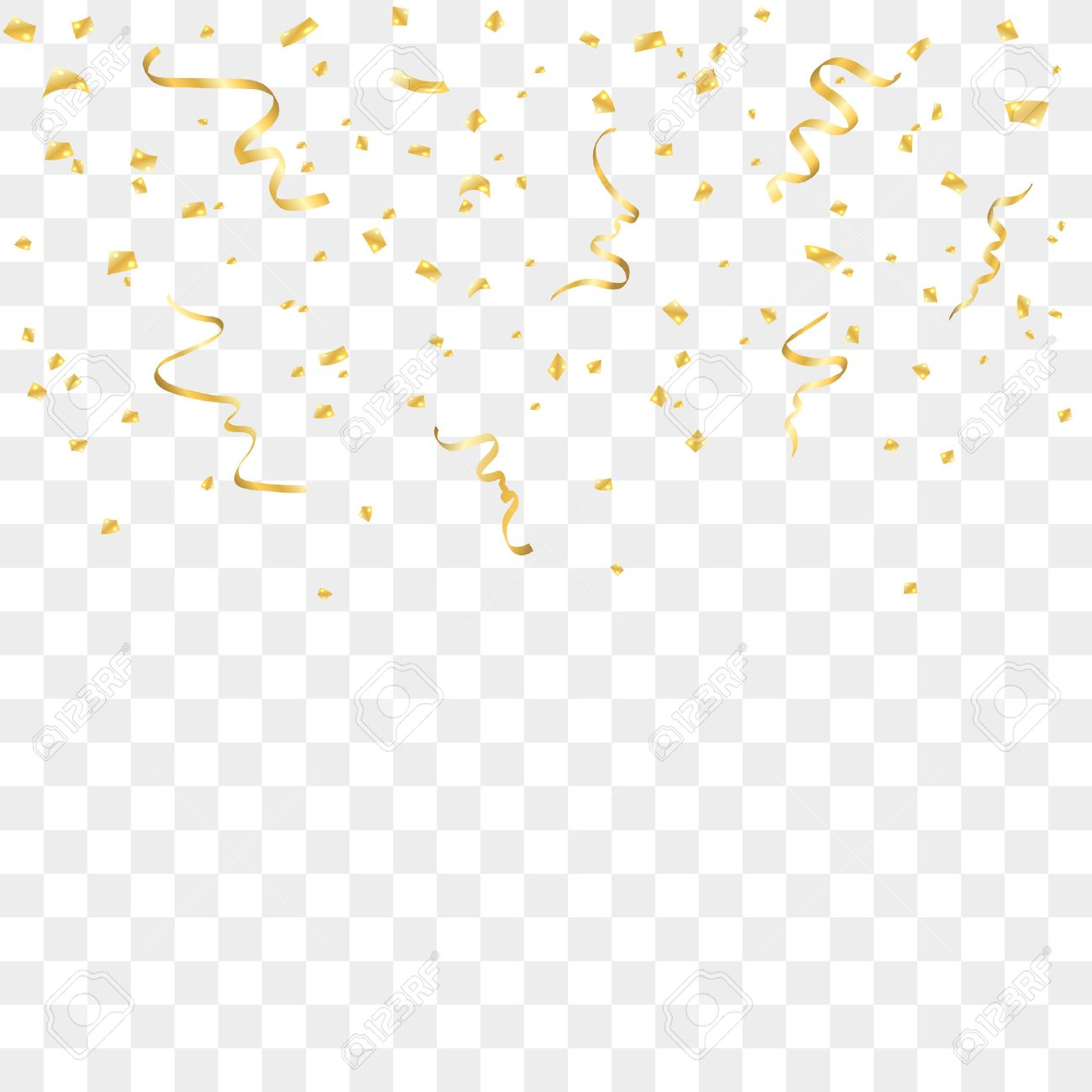 Gold confetti celebration isolated on transparent background.