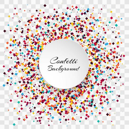 Celebration colorful confetti transparent background vector.