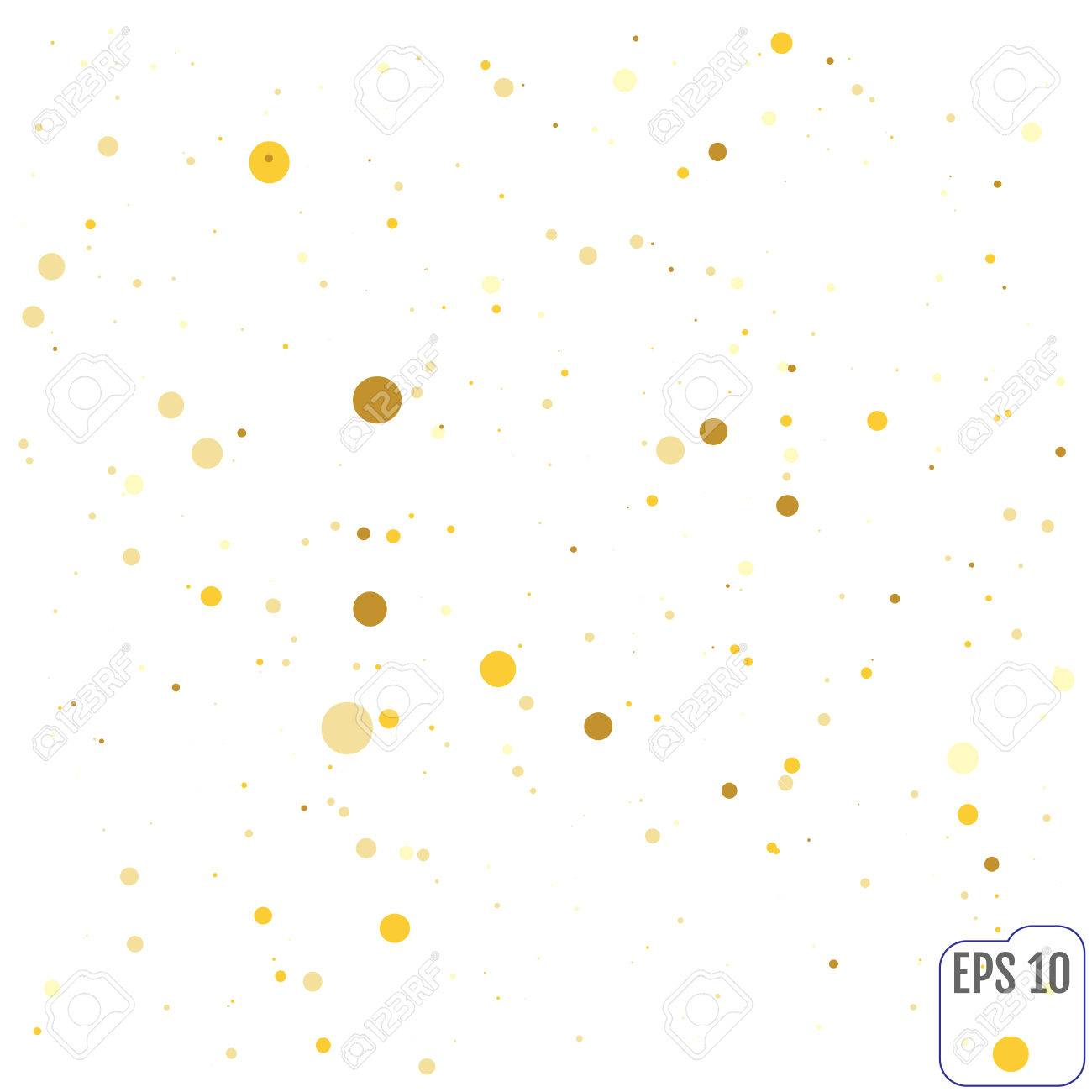 Polka dot gold confetti clip art. texture background for wedding...