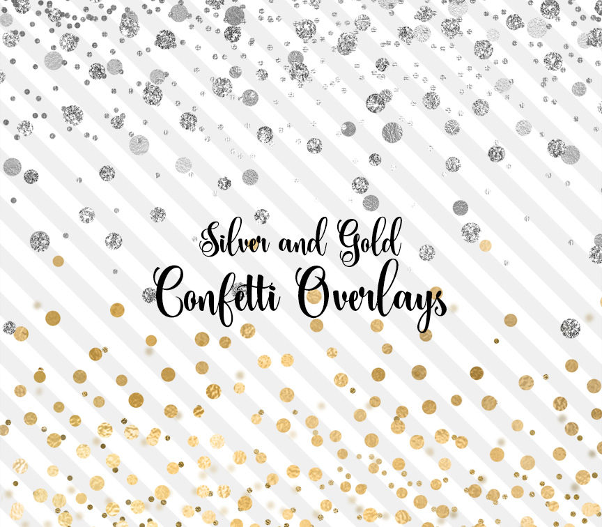 Silver and Gold Confetti Overlays Clipart.