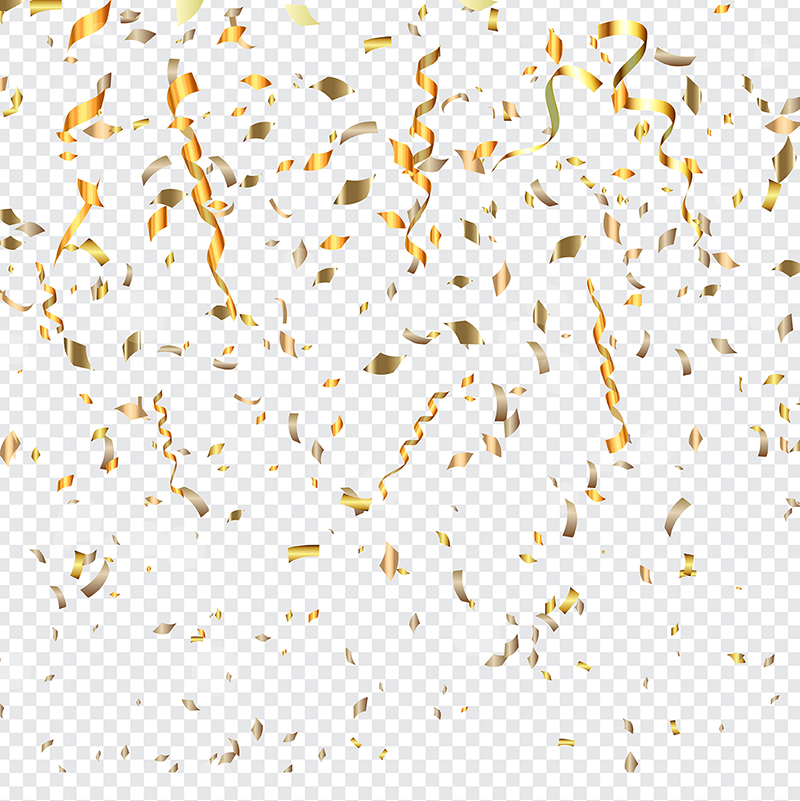Gold Confetti On A Transparent Background, Glitter, Confetti.