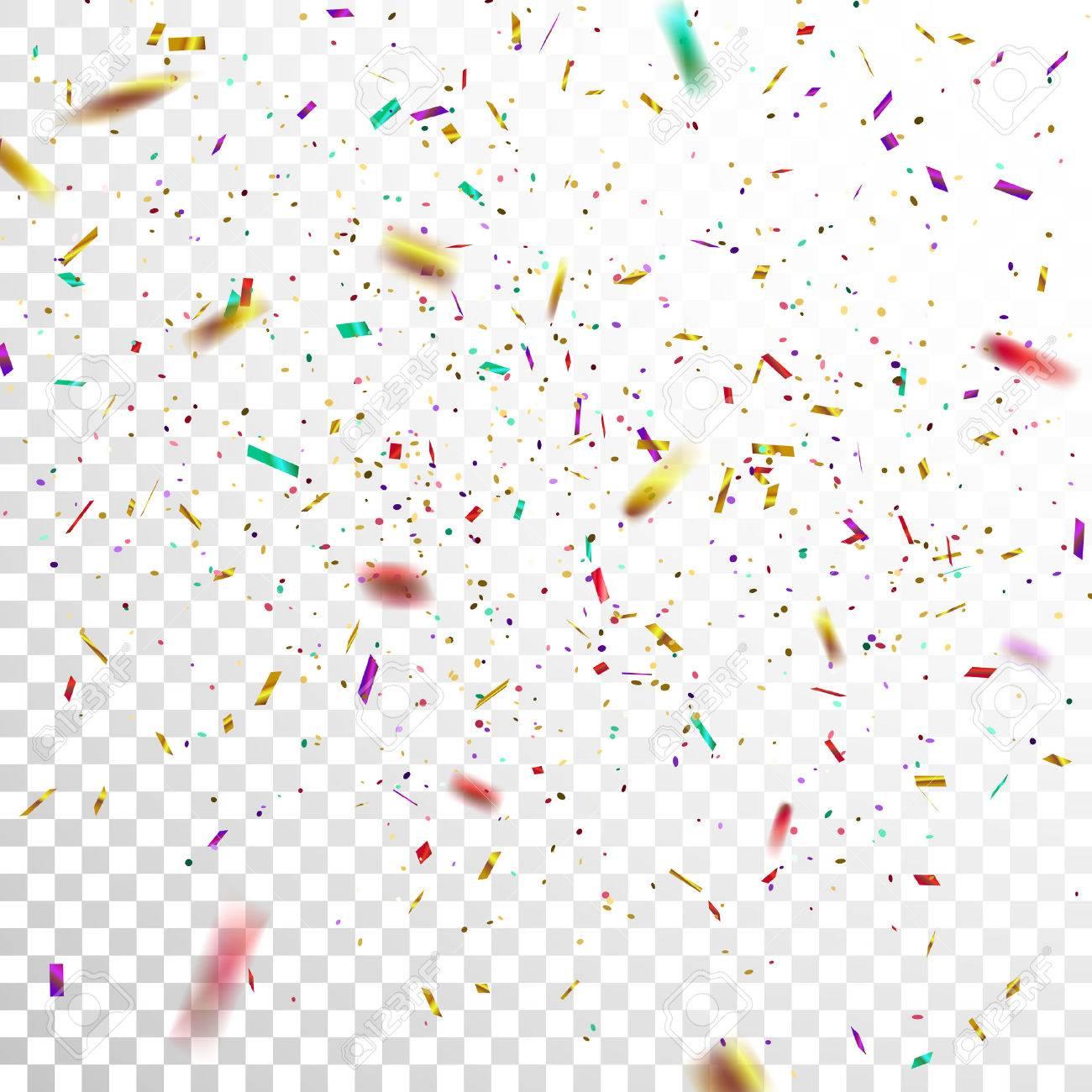 Colorful Golden Confetti. Vector Festive Illustration of Falling...