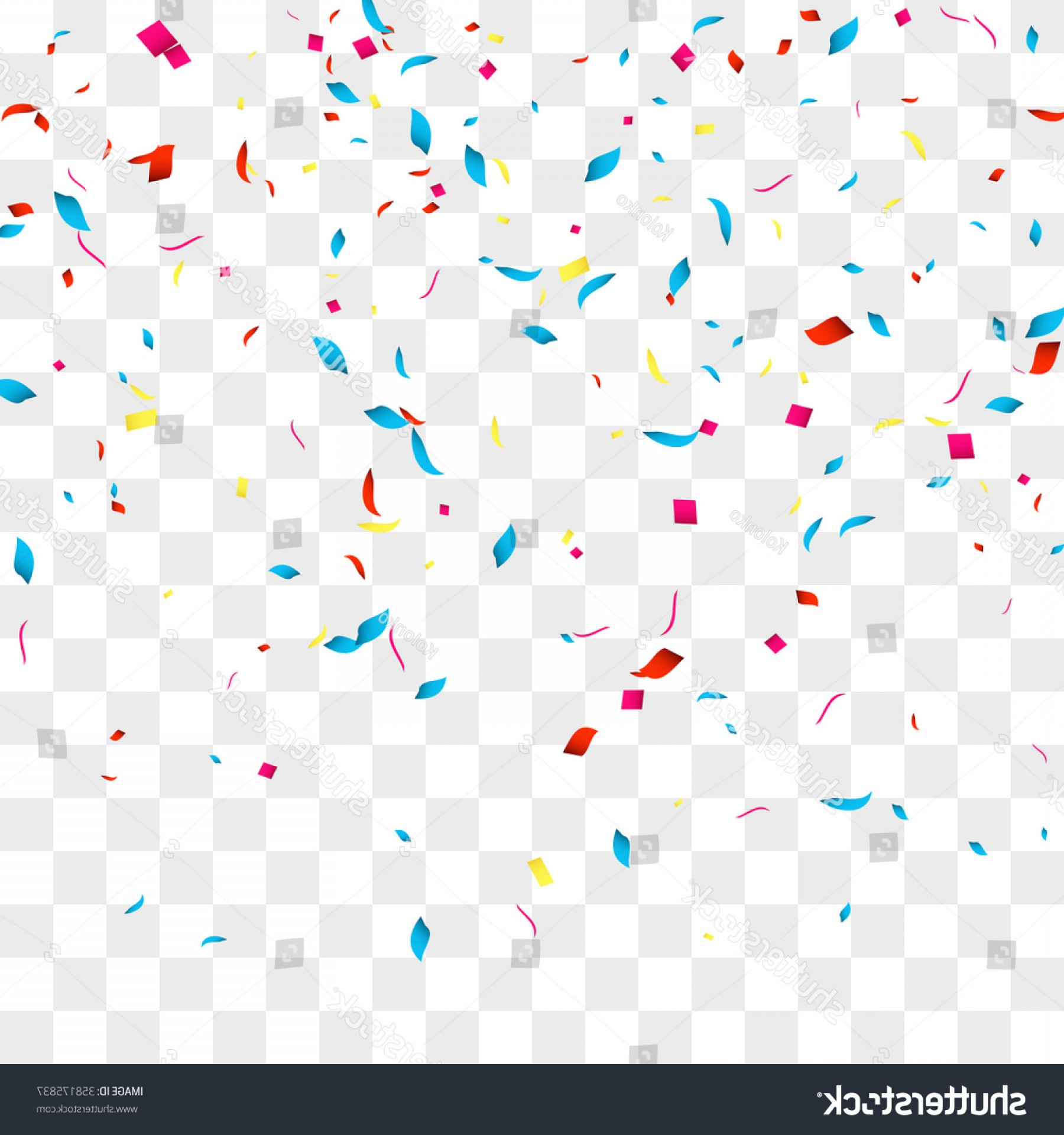 Confetti Vector Background Over Transparent Grid.
