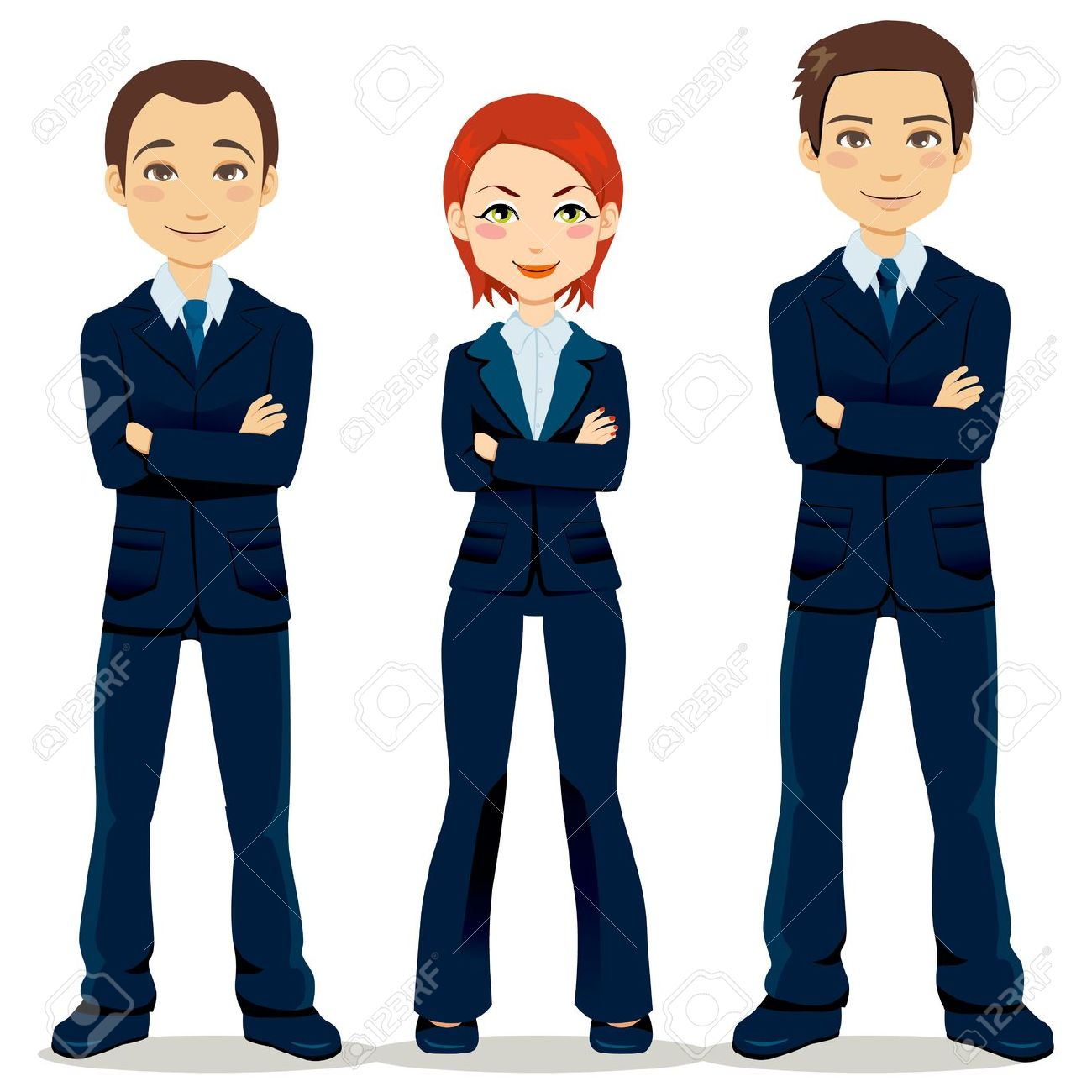 Confident Team Of Three Business People Partners Standing With.