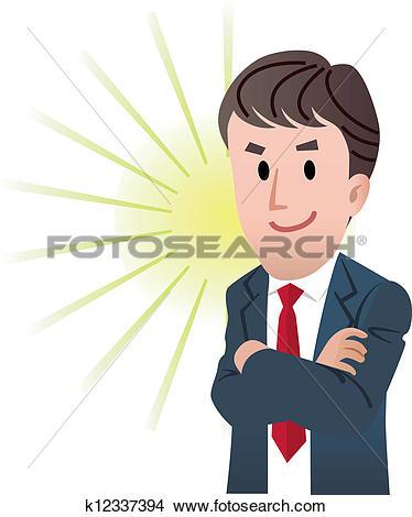 Clipart of Confident business man k12337394.
