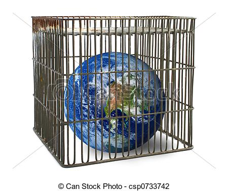 Clip Art of world confined in a cage isolated on white csp0733742.